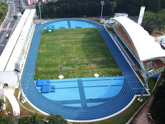 Capri blue and sky blue synthetic athletic track Regupol® AG at the Centro de Atletismo Professor Oswaldo Terra, Sao Paulo, Brazil.