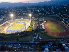 Aerial view of the National Stadium and Stadium East in Kingston, Jamaica.