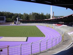 A purple Regupol® athletic track at the Erzgebirgsstadion in Aue, Germany.