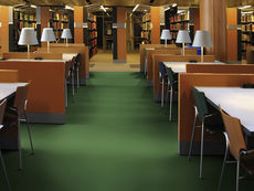 decolast laid in libraries absorbs sound from impacts
