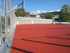 playfix® safety flooring as a playing field (red)