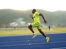 Usain Bolt during training on BSW Regupol tartan® track