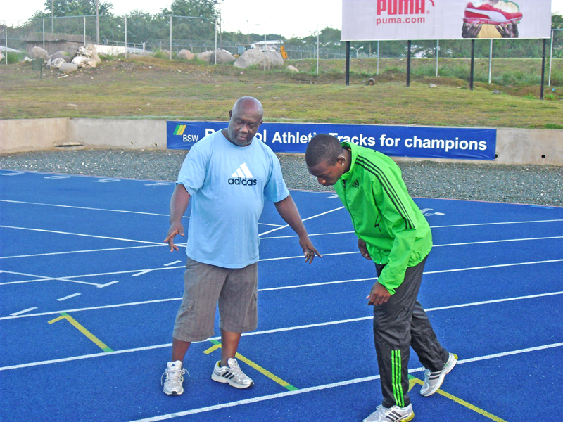Usain Bolt and his trainer Glen Mills doing their training session on the Regupol® Athletic Track
