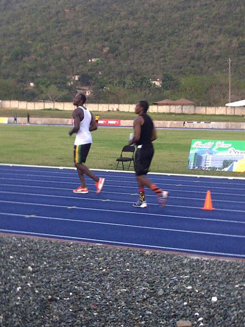 Usain Bolt and Yohan Blake doing their daily training session on the Regupol® track